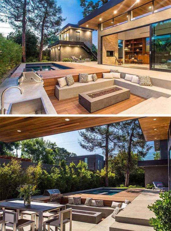Terrasse bois décaissée